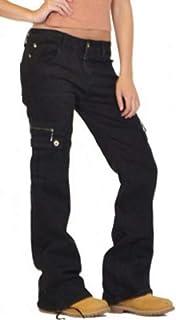 Mstyle-ES Women Denim-Pants Jeans Multi Pockets Loose Flat-Front Low Waist Cargo Denim Pants