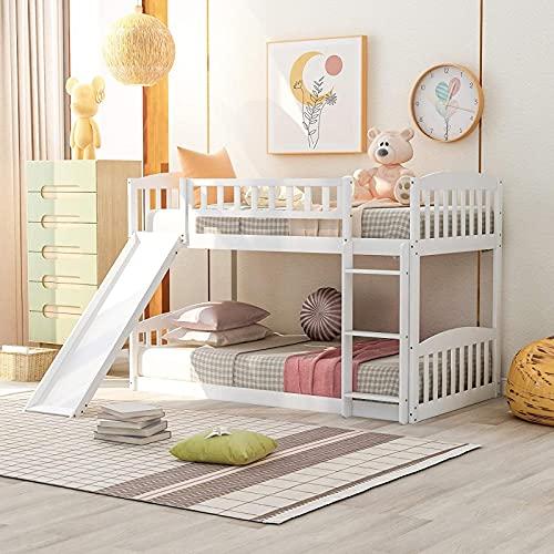 MWKL La litera más Nueva de Dos Camas con tobogán y Escalera, litera para familias, niños, Adolescentes, Muebles de Dormitorio