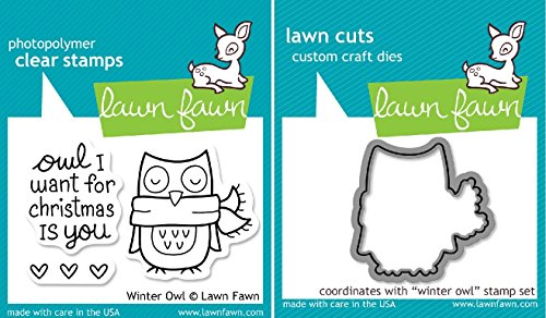Lawn Fawn Winter Owl Clear Stamp and Die Set - Includes One Each of LF434 (Stamp) & LF580 (Die) - Custom Set