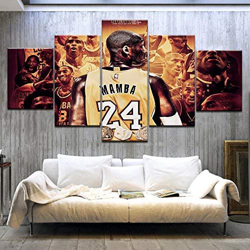 MIYCOLOR Modulare Bild Leinwand Wandkunst Schlafzimmer 5 Stücke Basketball Player Sport Malerei Druck Kobe Bryant Poster Wohnkultur, Gerahmte 20X35 20X45 20X55 cm