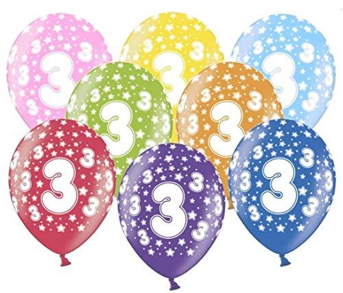 Libetui 10 kunterbunte Luftballons Metallic 30cm Deko zum 3. Geburtstag Party Kindergeburtstag Happy Birthday Dekoration Geburtstag Nummer 3