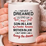 Being A Son In Law Coffee Mug, I Never Dreamed I'd End Up Mug From Son In Law To Mother In Law Gifts For Christmas Birthday Thanksgiving Mother's Day Family Love Gift Ceramic Mug (White, 15oz)