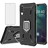 Asuwish Compatible with LG Velvet 5G/LGVelvet Verizon G5 UW T-Mobile 2020 Case Tempered Glass Screen Protector Cover Accessories Ring Holder Stand Kickstand Phone Cases for LM G900UM 4G Tmobile Black