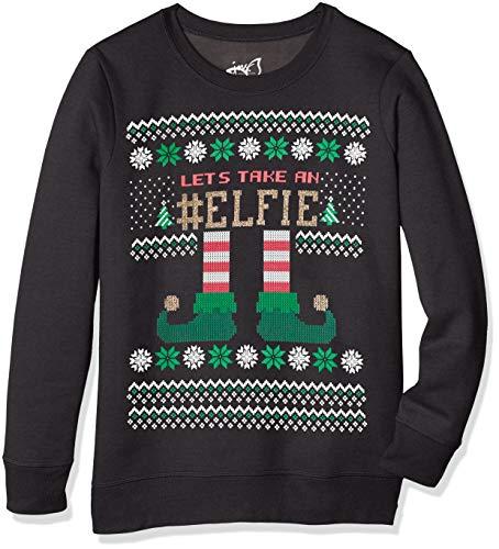 JUST MY SIZE Women's Plus Size Ugly Christmas Sweatshirt, Black Elphie, 5X