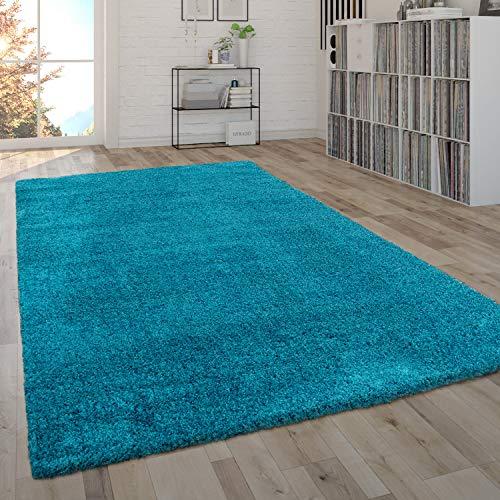Paco Home Tapis De Salon Shaggy À Poils Longs Moelleux Uni en Diff. Coloris Et Tailles, Dimension:133x190 cm, Couleur:Turquoise