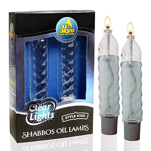 Ner Mitzvah Kerzenhalter aus Glas, Paraffin, Shabbat, mit Docht, gedrehte Kerzenform, passend für alle Standard-Kerzenhalter, Verwendung allen Lampenölen, kein Nachfüllen, 10 cm hoch, 2 Stück