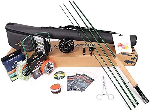 MAXIMUMCATCH Premier Fliegenrute und Avid Rolle Combo komplete 9' Fliegenfischen Outfit mit Angelausrüstung (6 wt -9' Half-Handgriff Rute 5/6 Fliegenrolle)
