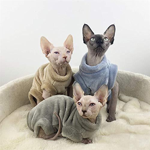 NELIT Sphynx Katzenkleidung Winter Warm Flanell Vierbeiner Pullover Haarlose Katzenkleidung-Blau_L.