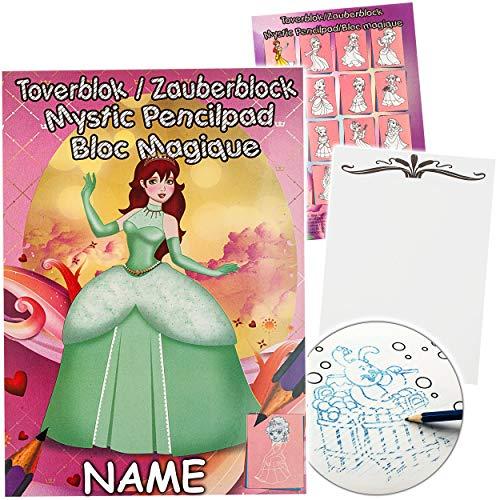 alles-meine.de GmbH Malbuch / Malblock - A5 - Zauberpapier - Zauberblock - Prinzessin & Märchen Fee - inkl. Name - Zaubermalblock Zaubermalbuch - für Stifte & Bleistift - Bastelb..