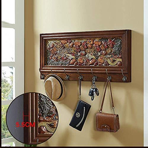 MU Haushaltsgarderoben Wandgarderobe aus Metall mit 5/7 Metallhaken für den Flur Badezimmer Wohnzimmer Schlafzimmer Organizer,Nussbaum,90CM