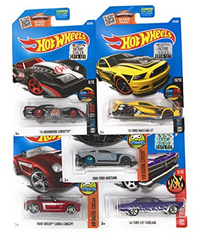 """Hot Wheels Muscle Car Madness 5 Pack Random Diecast Bundle Set with Various Corvettes, Mustangs, Camaros, Chargers, GTO""""s, Firebirds, Shelby, and More"""