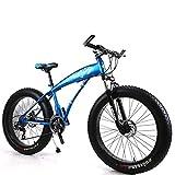 Unbekannt Mountainbike Herren MTB Bike 24 Zoll Fat Tire Fahrrad Schnee-Fahrrad Mit Scheibenbremsen Und Federgabeln,Blau,21Speed