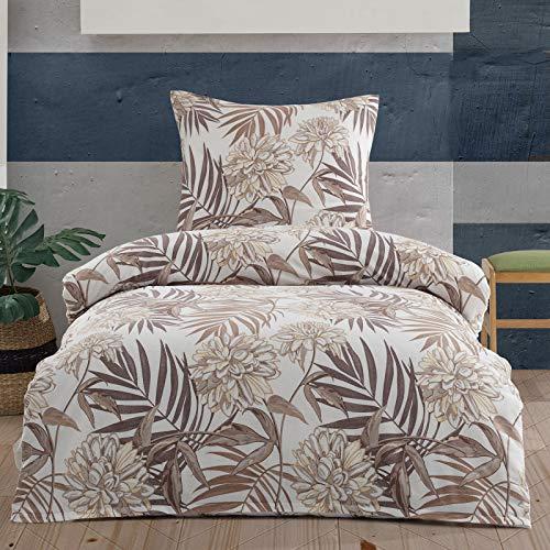 Style Heim Fein-Biber Bettwäsche 135x200 cm + Kissenbezug 80x80 cm, Bettbezug Set 2 Teilig mit Farn Muster 100% Baumwolle mit Reißverschluss, Braun Beige
