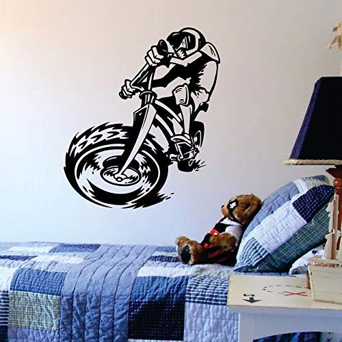 Quszpm Fahrrad Wandtattoos Fahrrad Sport Vinyl Wandaufkleber für Kinderzimmer Jungen Schlafzimmer Home Decals 56x65CM