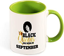 Beautiful Color Mug Inside And Handle Black Queens Are Born In September tea cup coffee cup green-style1