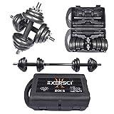 Exersci Cast Iron Adjustable Dumbbell/Barbell Box Set 20kg/30kg (20)
