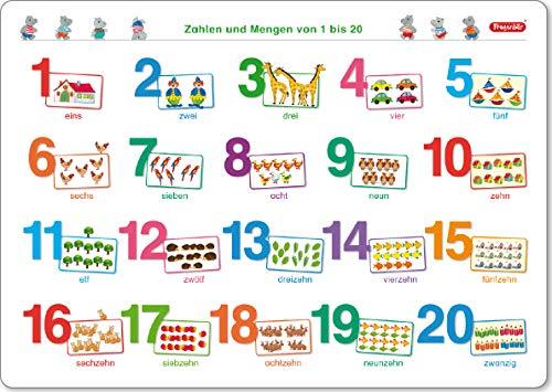 Fragenbär-Mini-Lernposter: Zahlen und Mengen von 1 bis 20 (in der Schulbuch-Druckschrift) S 45 x 32 cm: stabiler Karton, folienbeschichtet, abwischbar (Lerne mehr mit Fragenbär)