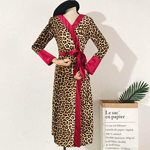 AITU Stickers Muraux Albornoz Suave,Leopard Print Creative Bath Cinturón Cálido Robes Europa Estilos Mujeres Sexy Loose Long Polyester Kimono Dressing Gown Robe Night Wear, Un Tamaño
