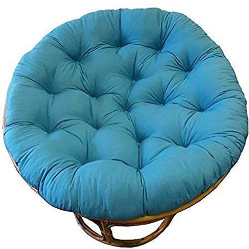 LYHY Cojín de Silla Papasan Cojín de Asiento Redondo Relleno de algodón Grueso Cómodo de Gran tamaño Reclinable Mimbre Huevo Colgante Sin Silla -100x100cm Azul Cielo
