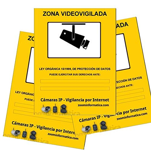 Cartel zona vigilada color amarillo. Diseño homologado para cámaras de vigilancia.Util para comercios, empresas con cámaras de seguridad. Zona vigilada video-vigilada. (A4, Pack 3 Rígidos)