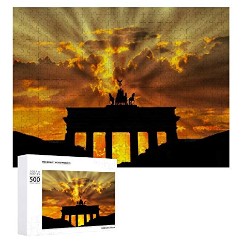 Promini Rompecabezas de madera Brandenburger Tor Dusk Dawn Crepúsculo Sunset Berlín color blanco 27 500 PCS Desafiante Puzzle Juego Divertido Juguetes Familiares Juegos Educativos