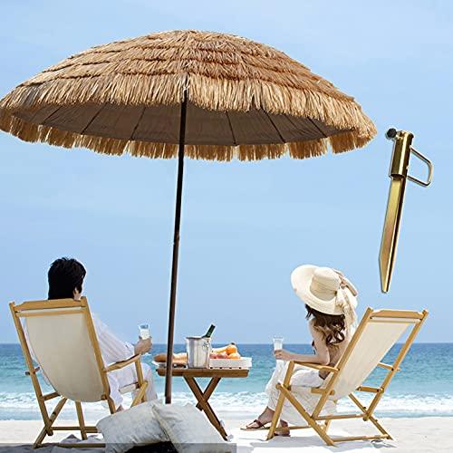 Rotondo Ombrellone Da Spiaggia Hawaii Ombrellone In Paglia Φ180cm, Ombrellone Pieghevole Portatile Inclinabile Da Esterno Per Terrazza Patio Protezione Solare Decorativo, Con Base Per Ombrellone