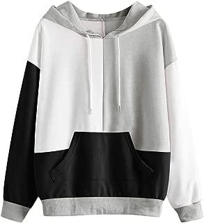 Makulas Women Pullover Plus Size Pocket Colorblock Long Sleeve Fashion Tunics Hoodie Sweatshirts Loose Blouse T-Shirt Tops