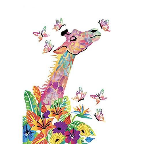 LvJin DIY Pintura Digital Jirafa y Mariposa Flowersband Frame Color Canvas, 16 * 20 in, Juegos de Pintura, Pintura de Arte