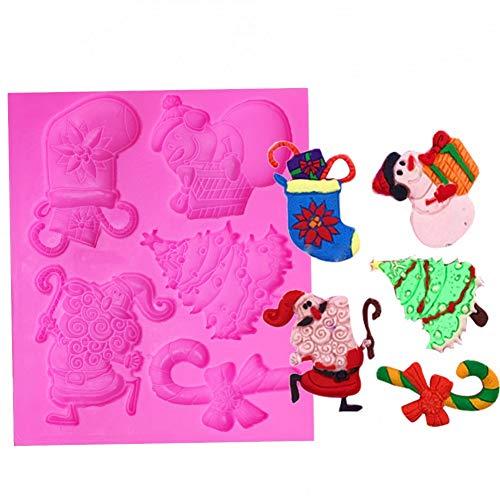 CSCZL Weihnachten Schneemann Socke SilikonformFondant Formen DIY Baumkuchen Dekorationswerkzeuge Küche Backform
