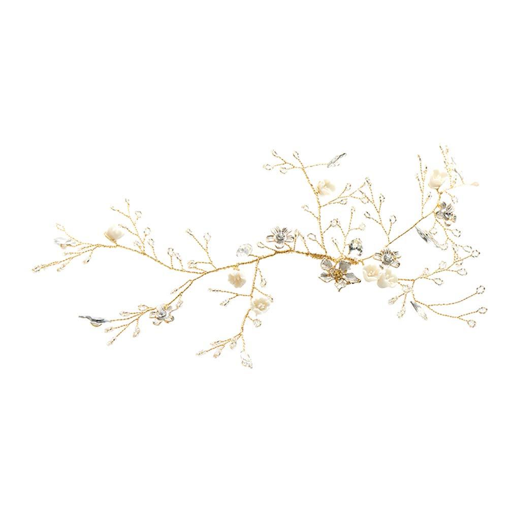 Generic 1pc Elegant Bride Shiny Headdress Wedding Flower Leaf Headband Decoration