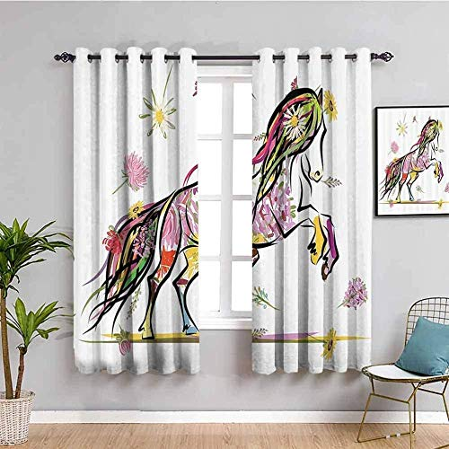 ZLYYH extra long shower curtains Color flowers horse cartoon W66'xL90'(33'x90'x2 panels) Blackout Curtain for Bedroom Thermal Insulated Blackout Eyelet Blackout Curtain for Kids Room & Nursery & Door,