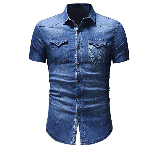NOBRAND Camisa vaquera de manga corta personalizada con estampado de hojas para hombre Azul azul M