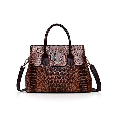 NICOLE & DORIS Bolsos de mujer Bolsos de asa superior de cocodrilo Cuero lujoso Bolsos de moda de PU Cuero marrón