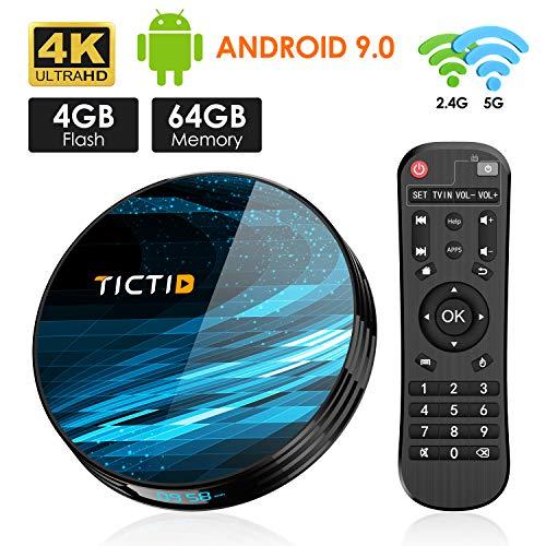 Android 9.0 TV Box 4GB RAM 64GB ROM, TICTID T8 Plus Android TV Box RK3368 PRO Octa-Core 64bit with 1000M RJ45 Dual-WiFi 5G/2.4G, BT 4.0, 4K2K UHD H.265, USB 3.0 Smart TV Box