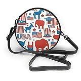 BAODANLA Bolso redondo mujer Women's Round PU Leather Crossbody Messenger Shoulder Handbag USA American Patriot Red White Blue Circle Tote Hobo Bag For Ladies Sling Bag
