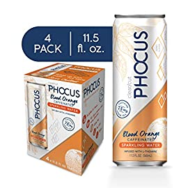 Phocus Naturally Energizing Caffeinated Sparkling Water, Blood Orange, 11.5 Ounce Cans, 4 Pack 6 NOTHING BAD: Phocus has NO CALORIES, NO SUGAR, NO CARBS, and NO SWEETENERS, just clean energy and a light, refreshing taste, so you can Phocus on the good. NATURAL CAFFEINE: 75mg of natural caffeine extracted from green tea per can - providing the energy equivalent of a cup of coffee without the crash or jitters; and it's easy on the stomach. CLEAN ENERGY: Each serving is infused with the neuro-enhancing amino acid L-Theanine, the active ingredient in green tea. This subtle enhancement ensures a calm, smooth caffeine release while helping you stay hydrated.