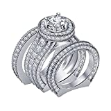 DiviDiamonds - Juego de anillos de compromiso de boda con diamantes de imitación de 4 quilates, chapado en oro blanco de 14 quilates