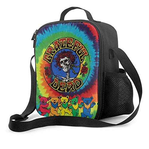 NA-1 Grate-ful Dead Dancing Bear Spiral Tie Dye Insulated Reusable Lunch Bag Food Container Portable Lunch Pouch Adjustable Strap for School Work Office Travel Fishing