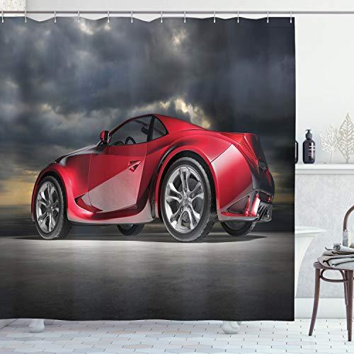 ABAKUHAUS Autos Duschvorhang, Moderne Red Sports Vehicle, Trendiger Druck Stoff mit 12 Ringen Farbfest Bakterie & Wasser Abweichent, 175 x 200 cm, Rot Grau Schwarz