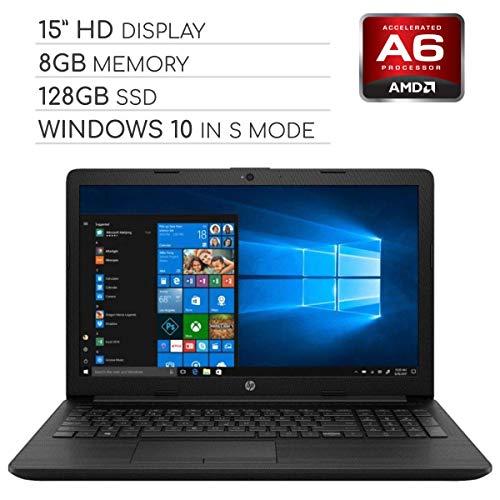HP Pavilion 2019 15.6 HD LED Laptop Notebook Computer PC, 2-Core AMD A6 2.6GHz, 8GB DDR4 RAM, 128GB SSD, DVD, HDMI, RJ-45, USB 3.0, Bluetooth, Webcam, Wi-Fi, Windows 10 Home in S Mode