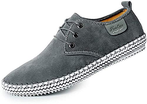 CUSTOME Herren Wildleder Leder Schuhe Schnüren Sneaker Faulenzer Leicht Eben Weich Dauerhaft Handarbeit Anti-Rutsch Schuhe Grau