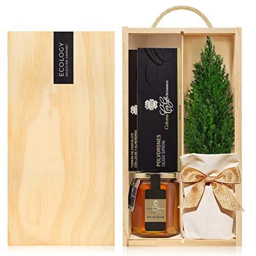 Lote Gourmet Regalo Navidad Sweet Christmas con arbolito navideño, miel de azahar, turrón y polvorones artesanos en caja de madera con tapa y asa