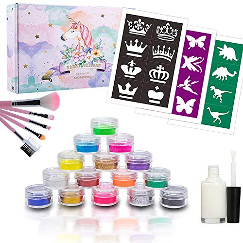BFY Glitter Tattoo Kit with Glitter Glue For Party Body Painting Flash Tattoo 12 Color Glitter Powder 24 Special Design Tattoo Stencils 1 Glue Applicator 5 Painting Brushes, DIY Tattoos Kit for Kids