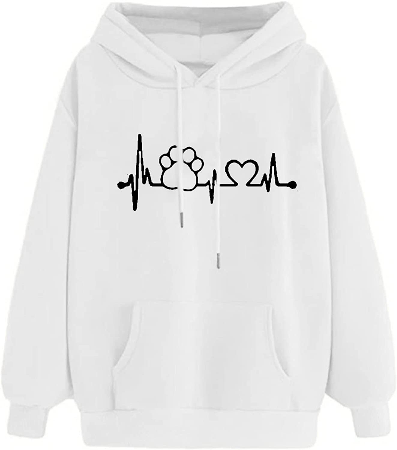 Women's Cute Graphic Hoodies Long Sleeve Sweatshirts Plus Size Loose Pullover Solid Color Casual Tops