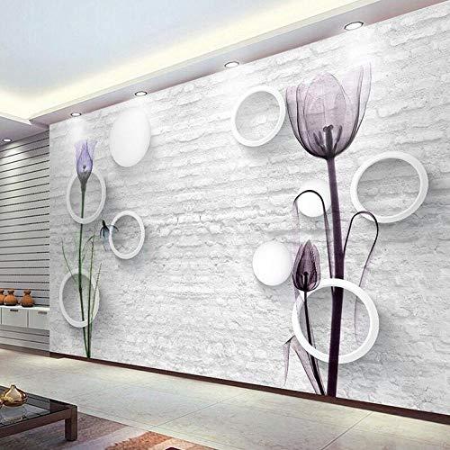 3D-vliesbehang personaliseerbaar schilderij fotobehang 3D-brikpatroon cirkel bal tulip bloemen abstract art muurafbeelding muur papier living room tv background decor 250 x 175 cm.