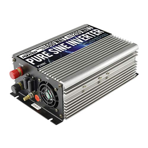 GoWISE Power 600W Pure Sine Wave Inverter 12V DC to 120V AC with 2 AC Outlets + 1 5V USB Port and 2 Clamp Cables (1200W Peak) PS1001