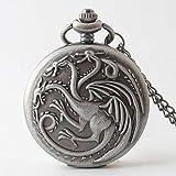 LXDDP Reloj de Bolsillo Vintage Steampunk Relojes de Bolsillo de Cuarzo Juego de Tronos Dragón y Sangre Hombres Mujeres Collar Cadena Colgante Reloj Regalos