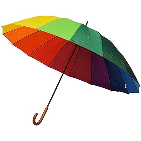 Parapluie Long Femme XXL pour Deux Personnes - Arc en Ciel - Happy Rain Parapluie Long Canne, Large Diamètre 130 cm, Très Robuste 16 Baleines, Multicouleur