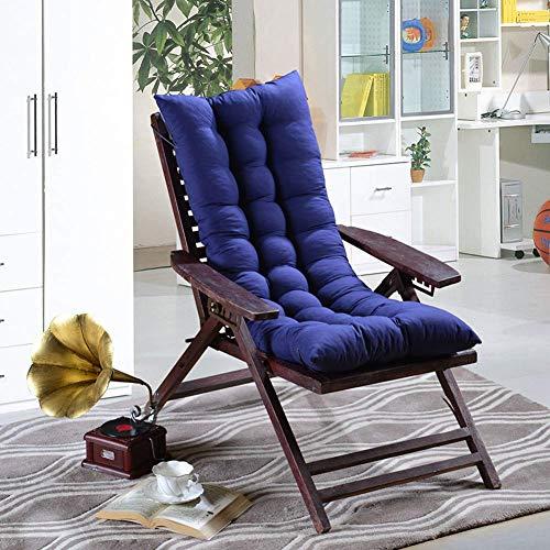JINGF Bequemes Gartenstuhlkissen Sun Lounger Kissenpolster, dick gepolstertes Stuhlkissen mit hoher Rückenlehne Sitzpolster aus Holz mit Rückenlehne - Dunkelblau