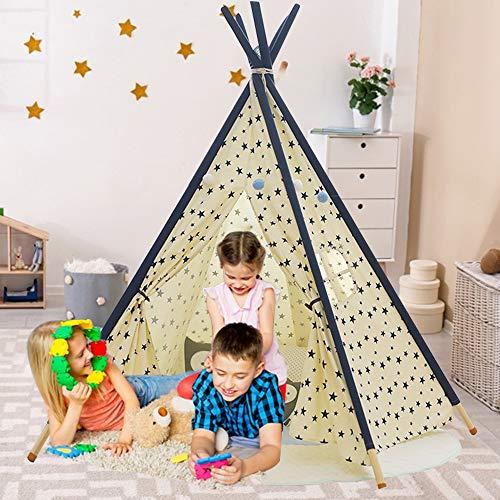 YOLEO Tipi Spielzelt für KinderIndianerzelt Kinderzelt, Kinderzimmer Zelt, Spielhaus Zelt für Drinnen und Draußen, Baumwolle- Segeltuch Kinderzelt,Gelb(155cm hoch)